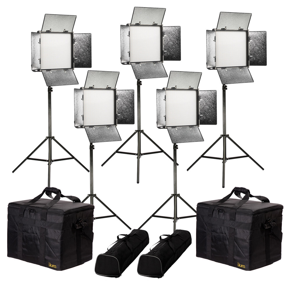 Rayden Daylight 5-Point LED Light Kit w/ 5x RW10 Includes Gold & V-Mount  Battery Plates, Stands, and Bags