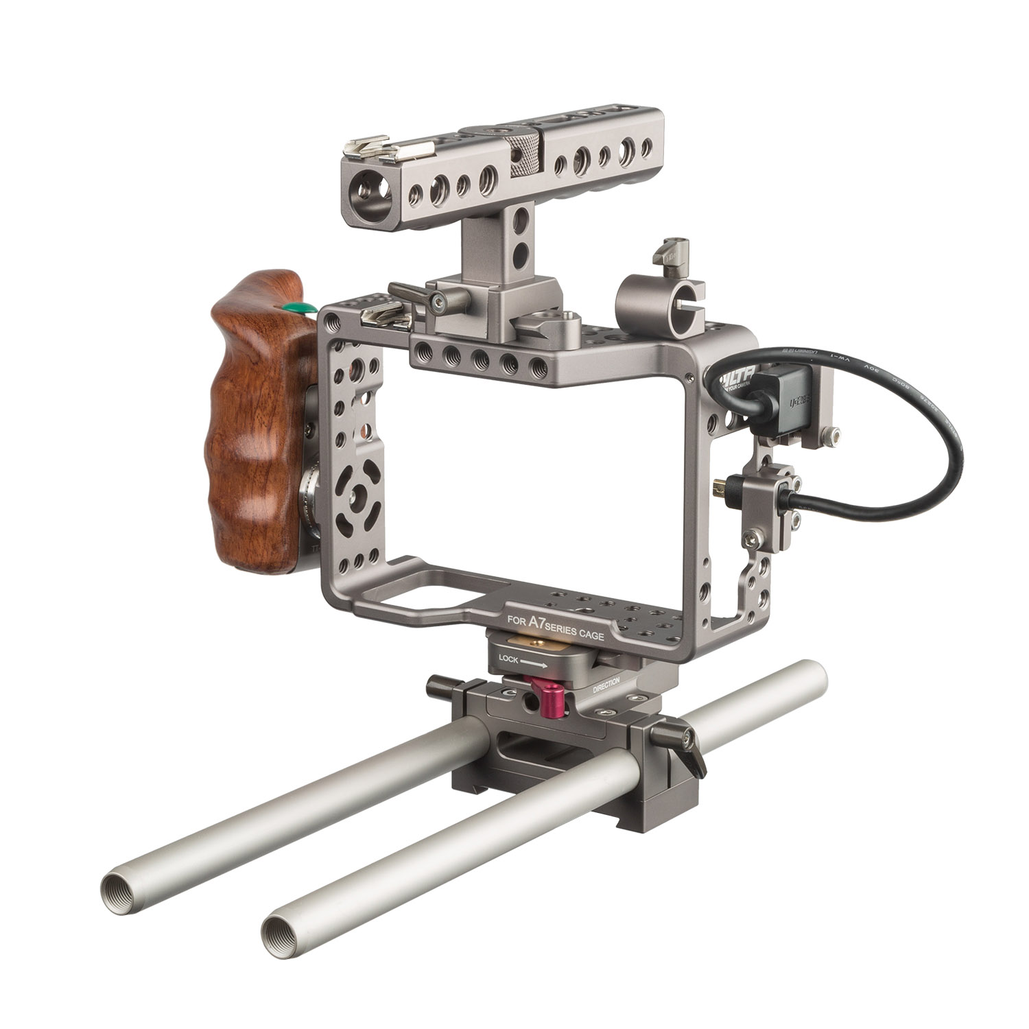 Sony Alpha Series Handheld Camera Cage Rig with Start/Stop Wooden Handle  Trigger for the a7R, a7RII, a7S, and a7SII (Tilta)