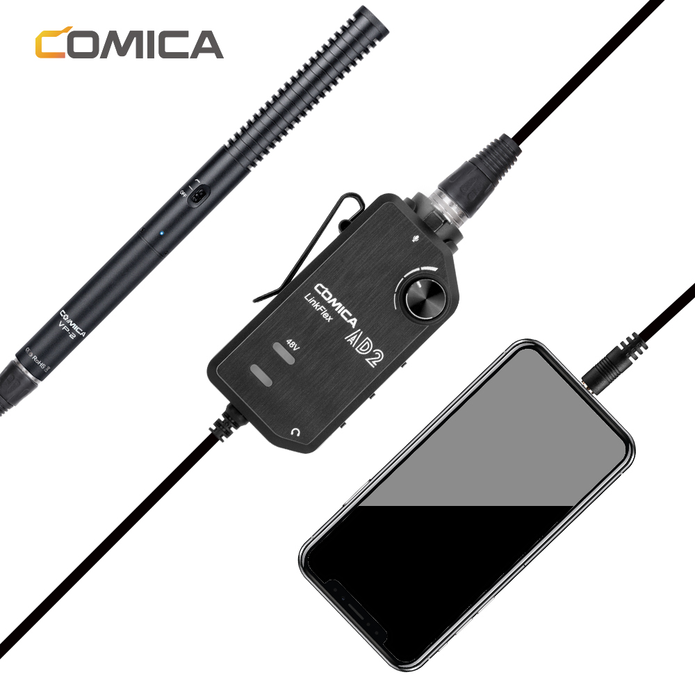 Guitar Interface Adapter for iPhone,iPad,Android Smartphone and DSLR Cameras Audio Preamp Adapter Comica LINKFlEX AD2 XLR// 6.35MM Microphone Preamp Amplifier with 48V Phantom Power